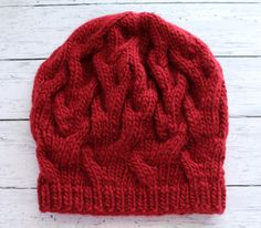 Red Winter Hat  Chunky Knitted Beret  Bulky Wool by ussuriknits