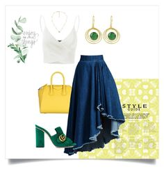 """""""Green&yellow"""" by siafei ❤ liked on Polyvore featuring Givenchy, WithChic, Gucci, Carousel Jewels and Doublju"""