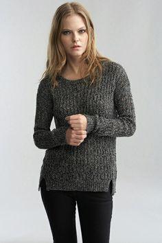 Heather Lurex Pointelle High/Low Sweater by Velvet