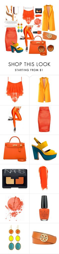 50 shades of orange by francescacalabrese on Polyvore featuring moda, WearAll, Chicnova Fashion, Balmain, Madeline Girl, Hermès, NAKAMOL, Tory Burch, Spitfire and Topshop