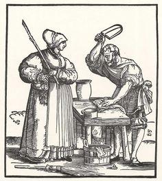 Artist: Schäufelein, Hans Leonhard, Title: Ehemann unter dem Pantoffel, Date: 1536