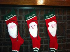 Personalized Hand Knit Santas Face Christmas by NanasKnits on Etsy, $125.00