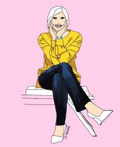 Pure Formen in Gelb, Blau und Weiß ergeben einen modernen Purismus für starke Frauen. Wenn Sie wissen wollen, wie dieser Look funktioniert, besuchen Sie den Blog der www.modefluesterin.de !