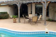 Pool Deck Resurfaced, Cool Deck Finish, Integral Buff color, Concrete Sealer. Concrete Sealer, Concrete Pool, Stamped Concrete, Deck Finishes, Concrete Finishes, Luxury Food, Cool Deck, Patio Paint, Exterior