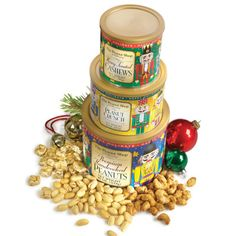 The Peanut Shop of Williamsburg Nutcracker Holiday Tower. These nutcracker-themed holiday tins come packed with plenty of handcooked, nutty flavor. The handcooked Virginia peanuts feature extra-large and lightly salted handcooked Virginia peanuts cooked in golden peanut oil with no additives or preservatives. Honey-toasted cashews are drenched in honey and toasted to achieve a crunchy glaze. Sampling the peanut crunch, you'll discover bite-size chunks of crunchy golden peanuts in a light…