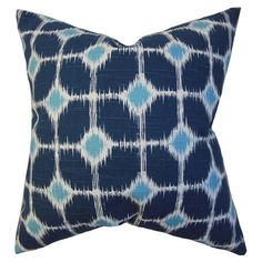 Cotton pillow with an ikat-inspired tile motif. Made in Boston, Massachusetts.     Product: PillowConstruction Mate...