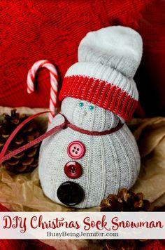 DIY Christmas Sock Snowman - Busy Being Jennifer