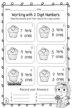 2 Digit Numbers, read and record the number. Valentine's Day printables. The Education Highway