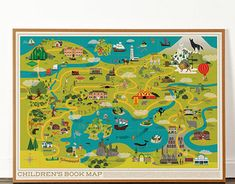Children's Book Map collaboration with Dorothy Imaginary Maps, Philip Pullman, Fantastic Mr Fox, Litho Print, Roald Dahl, Anne Of Green Gables, Treasure Island, To Loose, Graphic Design Illustration