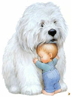 We have room at the Cottage for everyone's pets. Why does the littlest Grand-darling always choose the biggest pupper? Art Drawings Sketches, Animal Drawings, Cute Drawings, Cartoon Pics, Cute Cartoon, Cute Images, Cute Pictures, Baby Animals, Cute Animals
