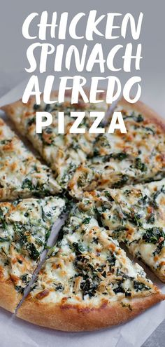 Pizzas, Strombolis & Calzones This Chicken Spinach Alfredo Pizza recipe is what Friday pizza night dreams are made of. Make it homemade completely from scratch, or take a few easy shortcuts to get the pizza onto your plates a little faster. Chicken Pizza Recipes, Cheesy Recipes, Baby Recipes, Spinach Alfredo Pizza Recipe, Chicken And Spinach Pizza Recipe, Recipe Chicken, Homemade Chicken Alfredo, Alfredo Chicken, Healthy Pizza