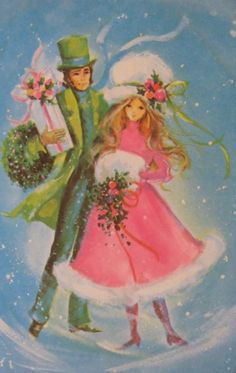 9 More Easy Homemade Christmas Cards with Step by Step Instructions – DIY Fan Vintage Pink Christmas, Retro Christmas Tree, Christmas Card Images, Homemade Christmas Cards, Christmas Couple, Christmas Graphics, Victorian Christmas, Vintage Holiday, Christmas Pictures