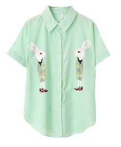Green Short Sleeves Blouse with Mirror Rabbit Print