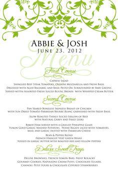 Wedding menu designs - Google Search | Wedding Menus | Pinterest ...