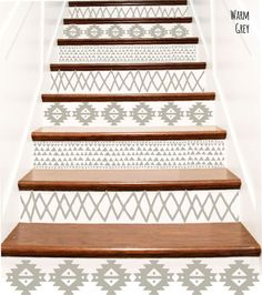 Decorative Vinyl Stair Tile Decals . Aztec Tribal Decor Steps Riser Stickers . Your Choice of Color and Quantity - Indian Navajo Pattern