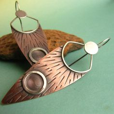 Neo Tribal Earrings Mixed Metal Copper And Sterling Silver Long Rustic Shield Earrings.