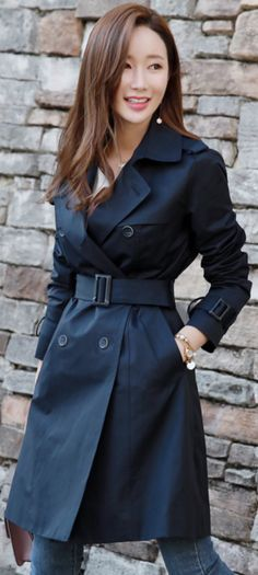 Simple Double Ted Trench Coat, Navy Trench Coat Ladies