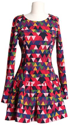 Colorful Triangles pattern Dress | Fall & Winter | Dolly & Molly | www.dollymolly.com | #pink #red #white #xmas #idea #dressup #outfit #lookbook #cute #funny