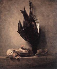 Jean Baptiste Simeon Chardin,  Natura morta con fagiano morto e borsa da caccia 1760