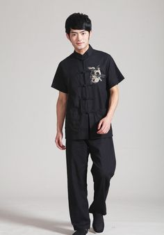 Black Linen Dragon Shirt  #Chinese #Fashion #Asian #Clothing #Menswear #KungFu #Dragon