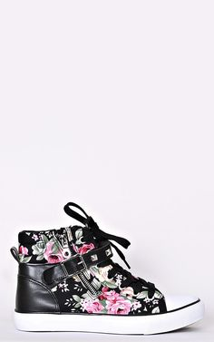 Cassie Floral Wedge Tennis Shoes - New Arrivals