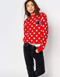 Champion Oversized Boyfriend Sweatshirt In All Over Star Print