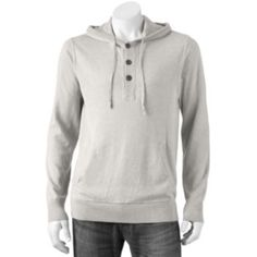 SONOMA life + style Solid Fine Gauge Hooded Henley Sweater - Big & Tall