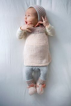 Sweater with matching hat and booties.