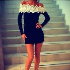 Autumn And Winter Long-Sleeved White Lace Collar Sexy Dress