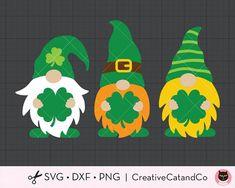 St Patricks Day Gnomes SVG Irish Gnomes with Shamrock Leprechaun Gnome with Clover St Patricks Day T Saint Patricks Day Art, St Patricks Day Cards, St Patricks Day Crafts For Kids, St Patrick's Day Crafts, Sant Patrick, Homemade Business, Partys, Clip Art, Crafty
