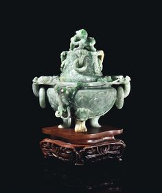 A CHINESE PALE GREYISH-GREEN JADEITE ARCHAISTIC TRIPOD CENSER AND COVER