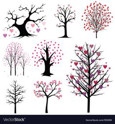 Illustration of love tree vector set vector art, clipart and stock vectors. Diy Wall Painting, Wall Art, Tree Illustration, Tree Art, Doodle Art, Painted Rocks, Doodles, Art Projects, Art Drawings