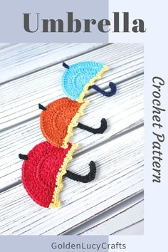 Crochet Umbrella applique – free crochet pattern. DIY small umbrella, easy project, #crochet, #crochetumbrella, #crochetapplique, #crochetpattern, #crochetmotif Crochet Applique Patterns Free, Crochet Motifs, Free Crochet, Crochet Appliques, Crochet Hooks, Stitch Patterns, Crochet Mushroom, Cute Stitch, Crochet Supplies