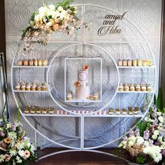 What a stunning cake display! Styling by Props by Florals by Custom Decal… Pvc Backdrop, Backdrop Stand, Backdrops, Wedding Reception Backdrop, Wedding Chairs, Wedding Tables, Anniversaire Hello Kitty, Wedding Cake Alternatives, Wine Display