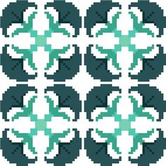 Perfect for cushion covers, this modern cross stitch repeat pattern of floral tiles has a timeless feel to it. By CrossStitchtheLine