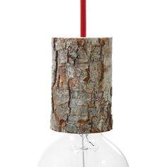 Bark lamp holder kit with cable retainer, height 11 cm Ceiling Rose, Ceiling Lamp, Kit, Edison Lighting, Wood Lamps, Wood Ceilings, Shabby, Light Installation, Home