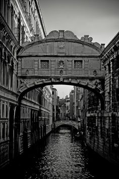 sighsbridge - The Bridge of Sighs, Venice, Italy. This is another of Venice's most recognisable features. It links the Doge's Palace to the old prisons. This photo was taken in 2008. - Black and White Photography for Sale