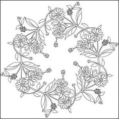 Nicole's Free Coloring Pages: Mandala Cushion Embroidery, Ribbon Embroidery, Embroidery Art, Embroidery Stitches, Border Embroidery Designs, Floral Embroidery Patterns, Free Coloring Pages, Coloring Books, Parchment Design