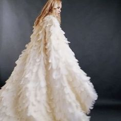 Ivory couture ostrich feather bridal cape dress Xiaolin by Julia Chew