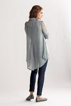 The Organza Elliot Shirt is subtly sexy and can easily be dressed up or down.