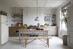 Gorgeous House In London | KITCHEN  | Subway Tiles, White Wooden Floor and Tile