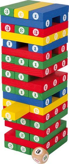 Bei diesem Zahlenturm aus Holz ist eine ruhige Hand gefragt. Hier sollen nämlich die einzelnen Spielstäbe nacheinander aus dem Turm gezogen werden – doch Vorsicht, denn der Turm darf dabei nicht einstürzen. Geübte Spieler können einen Zahlenwürfel hinzunehmen – dieser gibt dann vor, welcher Stab gezogen werden soll. Ein spannendes Geschicklichkeitsspiel für Groß und Klein. ca. 7,5 x 7,5 x 23 cm