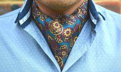YUAN - Stormy Blue with Ecru Yellow, Burgundy, Orange & Navy Oriental Style Printed Silk Cravat  #Cravats #Cravat #Ascot #Ascottie #Ascots #Ties #DayCravat