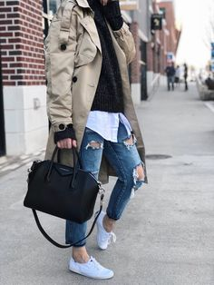 She Does Fashion: Trench Coat and Distressed Denim  denim, distressed, sneakers, keds, white keds, Givenchy, antigona, #givenchyantigona, trench coat, layering, autumn, fall, spring, winter, luxury, vici, vicidolls