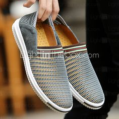 separation shoes 6d071 a4049 Hombre Suelos ligeros Tul Verano   Otoño Confort Zapatos de taco bajo y  Slip-On Azul Oscuro   Gris