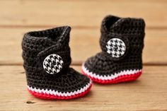 Crochet Baby Booties  Houndstooth Black Red and by Raspberriez