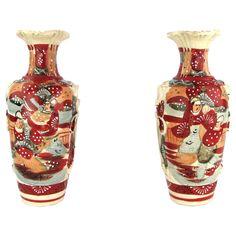 Handpainted Red w/ Tassels Satsuma-Style Vases, Pair