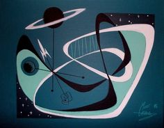 EL GATO GOMEZ PAINTING RETRO 1960S SPACE SHIP ROCKET SCI-FI ATOMIC ABSTRACT MOD #Modernism