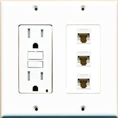 [ 2 GANG Power Outlet 15A 125V 1 HDMI 1 COAX CABLE TV CAT6