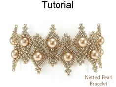 Beautiful Netted Net Stitch Bracelet with Pearls and Seed Beads Jewelry Making Pattern Tutorial by Simple Bead Patterns 05